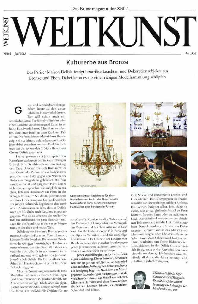 Article paru dans Weltkunst