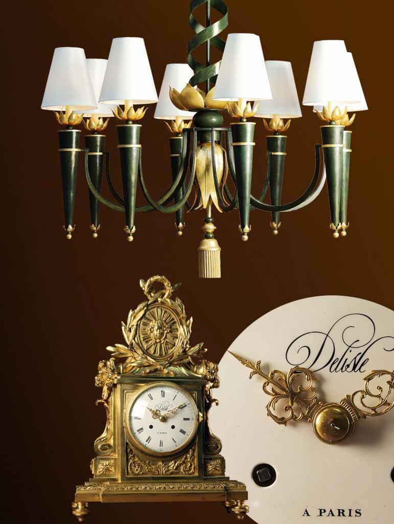 catalogue lustre art déco et horloge bronze doré
